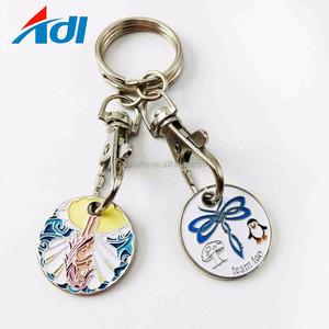 2018 high quality custom poctet coin ring trolly token metal holder keychain
