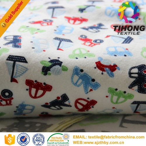 2016 hotsale soft printing babies kids flannel cotton fabric