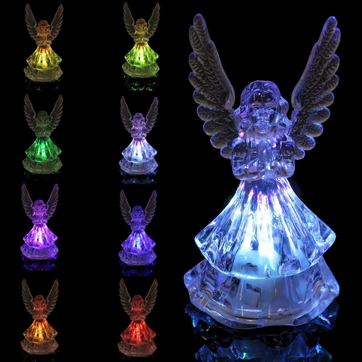 Changing Color Acrylic Color Icy Crystal Angel LED Light Lamp Home Decoration / : Changing Color Acrylic Color Icy Crystal Angel . . Specification: . Material: Acrylic . . Color: Clear .
