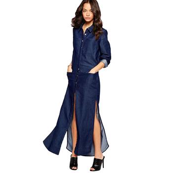 Nuove Donne di Arrivo Denim Camicia Abito Con Lo Spacco Lungo Vestito Blu  Jean Maxi Vestito f56ed8a9377