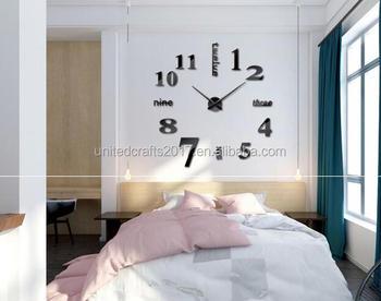 Nomor perak Babak Lingkaran Jam Dinding Cermin Jam Dinding Desain Modern  Removable DIY Acrylic 3D cermin 3ee5938816
