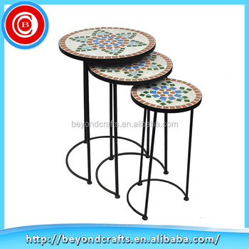 Alibaba Export Round Mosaic Tile Plant Stand Garden Metal Furniture For Decor