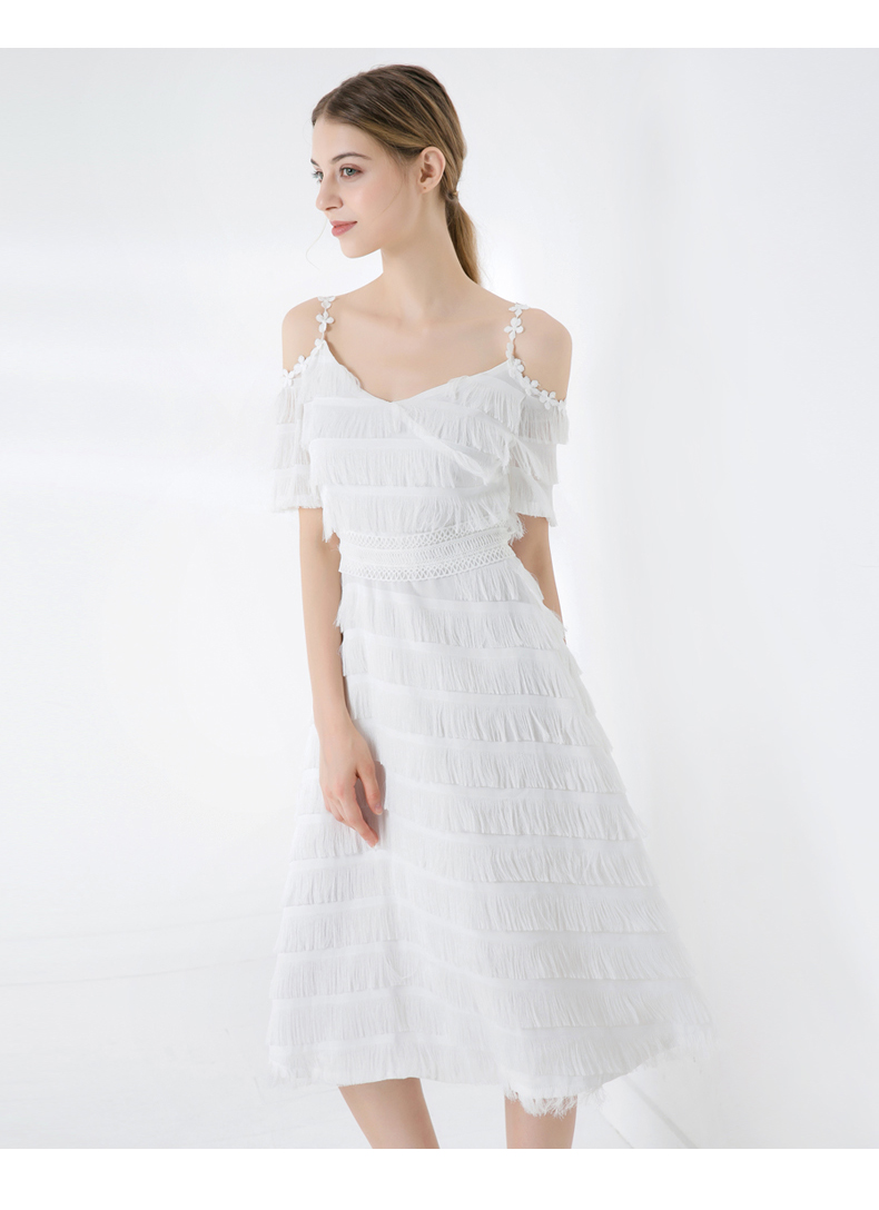 Fashion Women Dresses Manufacturing V-neck Sling White Sexy Off Shoulder Ladies Lace Tassel Chiffon Dress