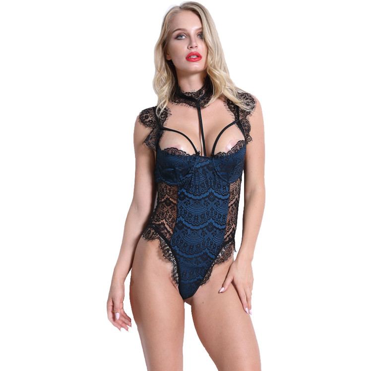 PoeticExst Plus Size Transparent Pajamas Sexy Lingerie Bodysuit Women Underwear Sets Lace Underwear