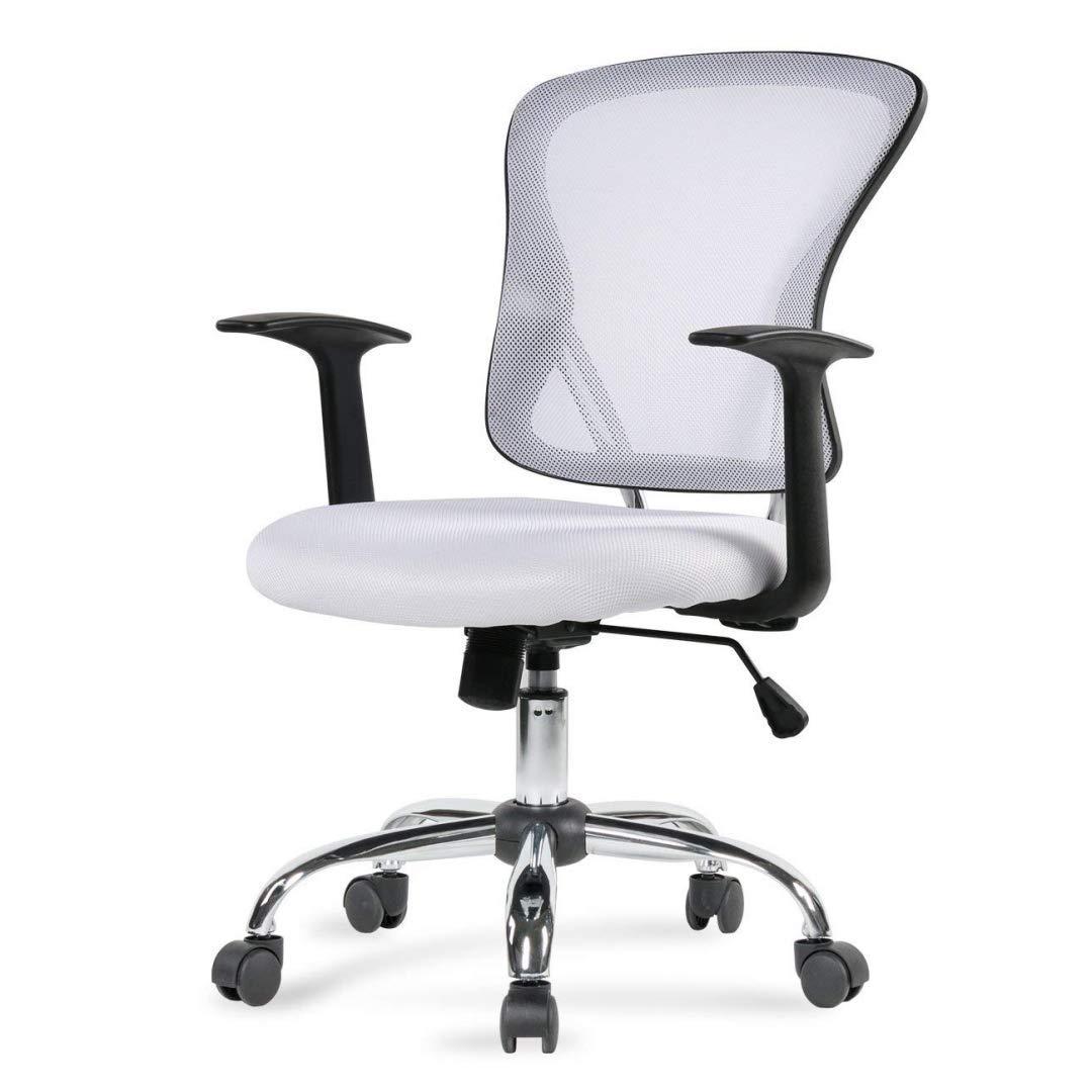 Modern Design Mid-Back Computer Desk Task Dining Room Chair Height Adjustable 360-Degree Swivel Seat Comfortable Padded Mesh Upholstery W/Armrest Home Office Furniture - (1) White #2003