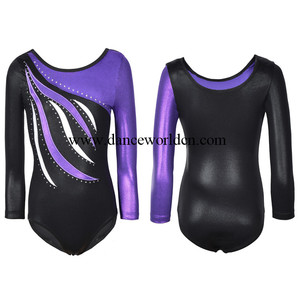 Professional High Quality Shiny Spandex Kids Children Long Sleeve Leotards Gymnastics