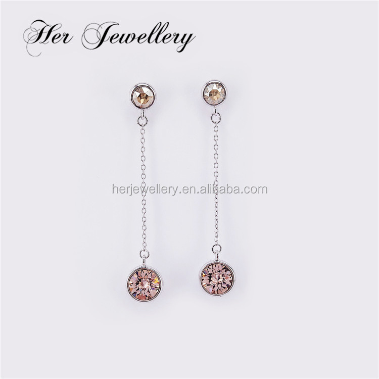 Her Jewellery Trendy drop earring with chain and charming stone Embellished with Crystal from Swarovski HSE0148