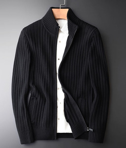 cotton cashmere knitted cardigan zipped sweater with pocket for men