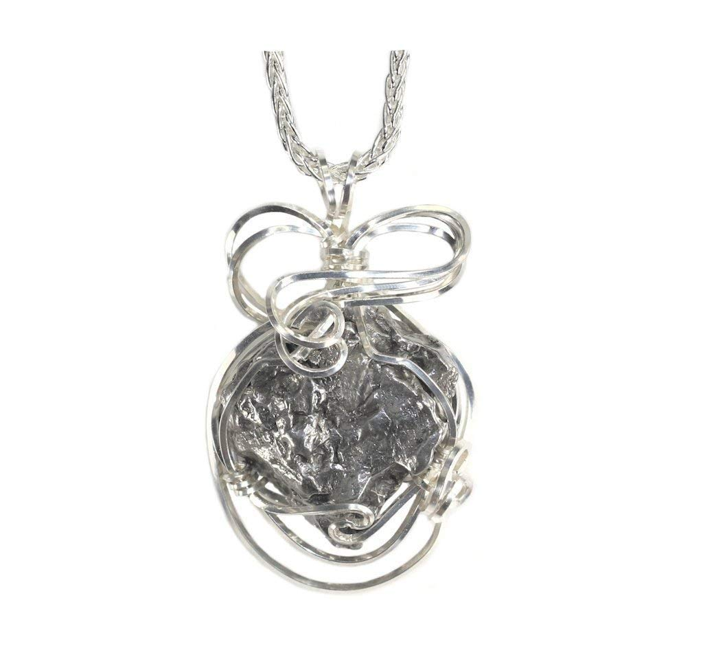 "Meteorite Jewelry Pendant Necklace Sterling Silver with Matching 18"" Chain"