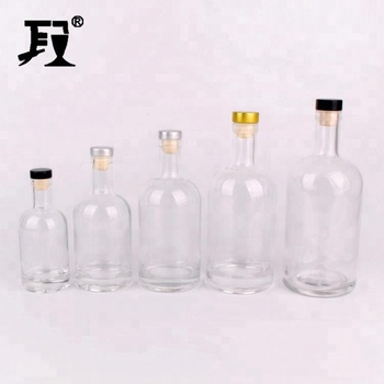 stocked 500ml boston glass bottle clear with cork stopper empty for wine