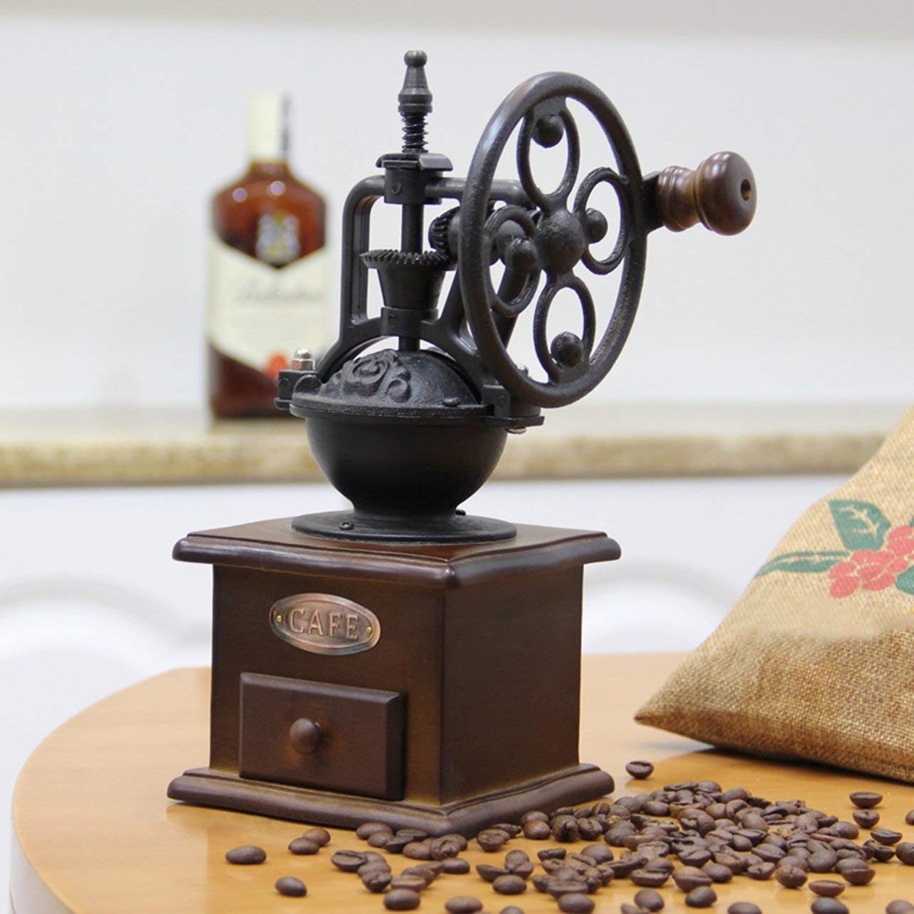 Manual Coffee Grinder Vintage Style Wooden Coffee Bean Mill Grinding Ferris Wheel Design Hand Coffee Maker Machine(Color:black and brown)