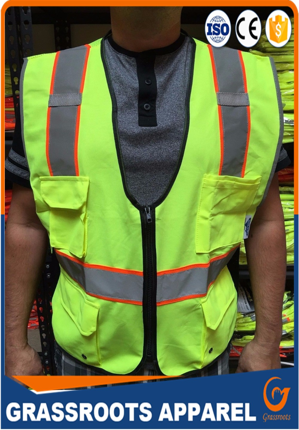 Reflective Strips cool safety vest 2 Pockets Neon Green Safety Vest security clothes made in china factory price good quality