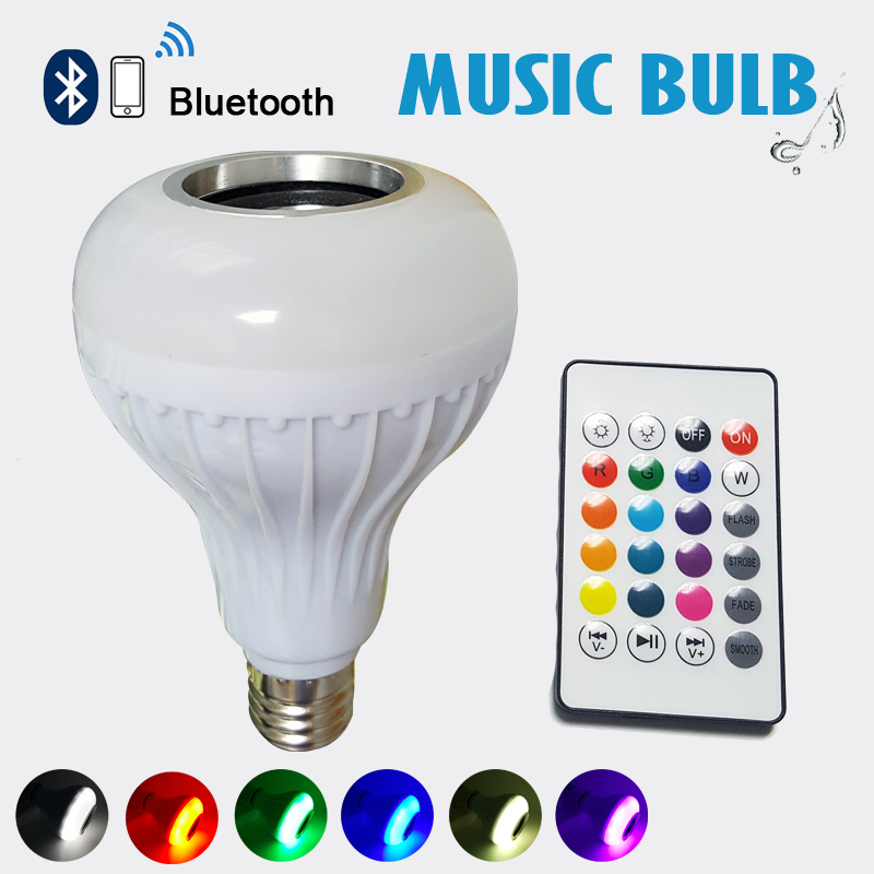 Smart Wireless <strong>E27</strong> with IR remote control colored flash light bluetooth led speaker RGB bulb for playing music
