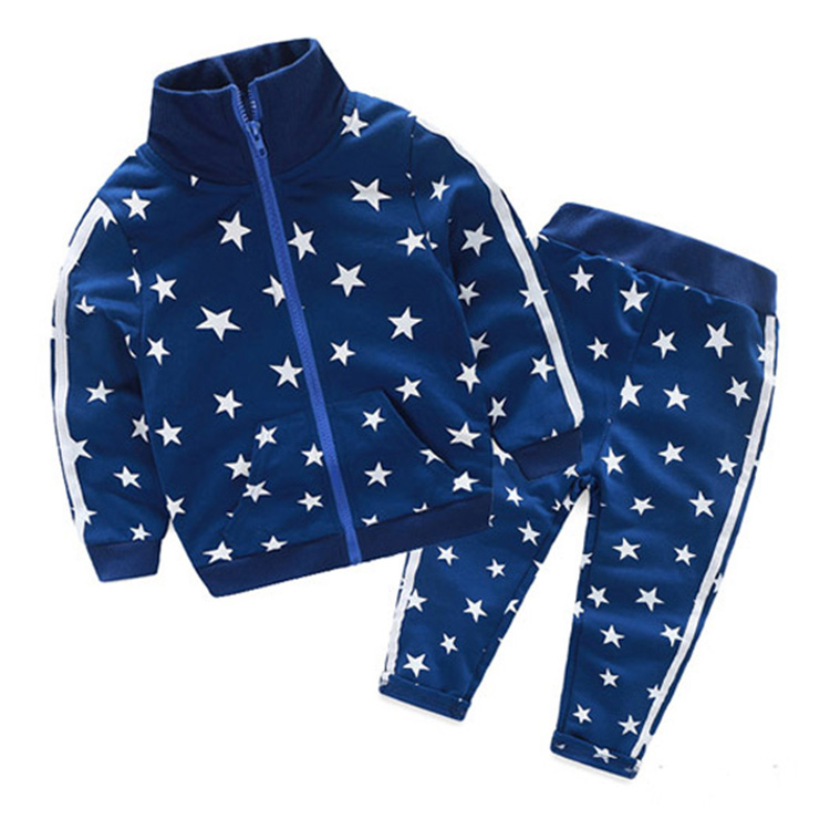 kids spring autumn clothing set long sleeve jacket + pants two pieces star sports suits sweatshirt outfit for boy and girl