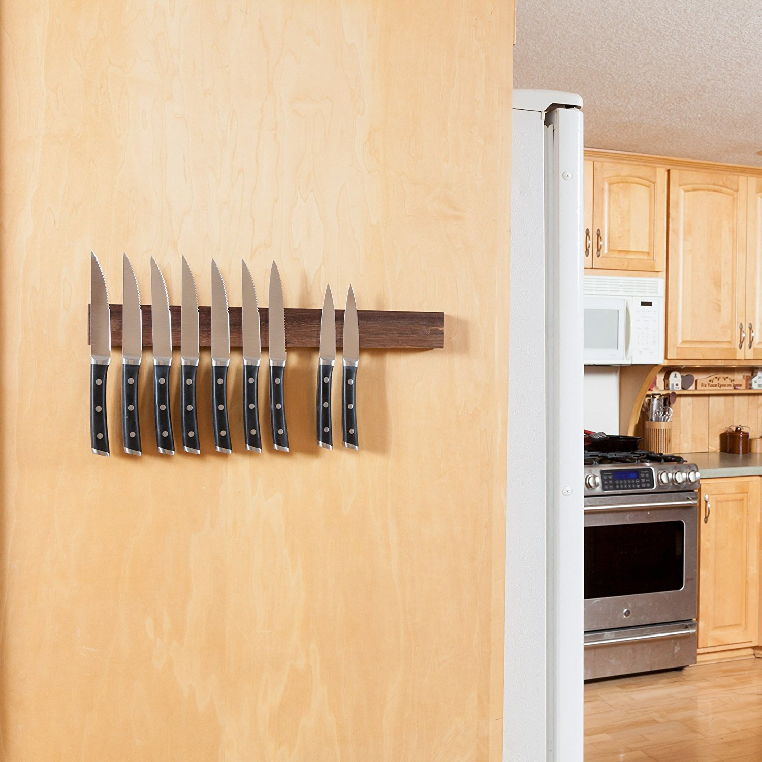 Magnetic Knife Strip Holder Walnut Wall Mount Wooden Knife Rack