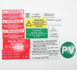 100 sets(15 pcs/set) = 1 lot High quality Solar Warning Label, ABS PV Labels, Solar Label kits