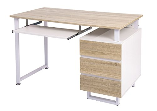 Merax Modern Simple Design Computer Desk Table Workstation (White and Oak with Cabinet)