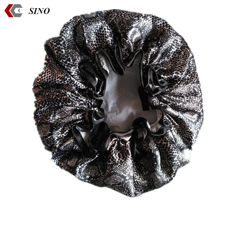 Black flower leopard print satin bonnet sleep cap for women double layer sleeping cap