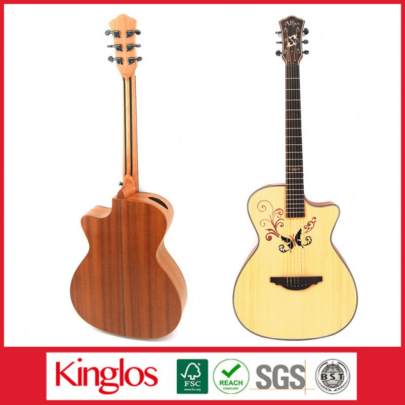 Special Design Good Quality Artistic Colorful Acoustic Guitar Made of Solid Spruce Wood Mod for Beginers (S41U-008-050)