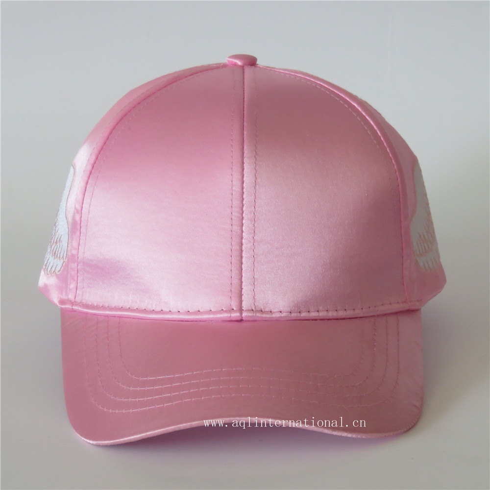 Custom fashion baseball cap polyester cap satin baseball caps and hats  bling cap with wings embroidery 095e46dd17d8