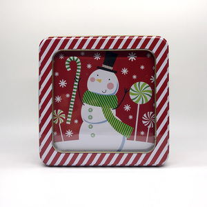 Stock metal square Christmas biscuit tin box with window