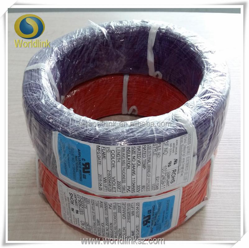 Ul 1007 PVC Tráng Dây Đồng 16awg/Awg18/24AWG PVC Dây Đồng