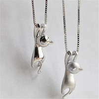 S925 silver female necklace pendant,cute cat silver jewelry wholesale manufacturers(SWTMD3186)