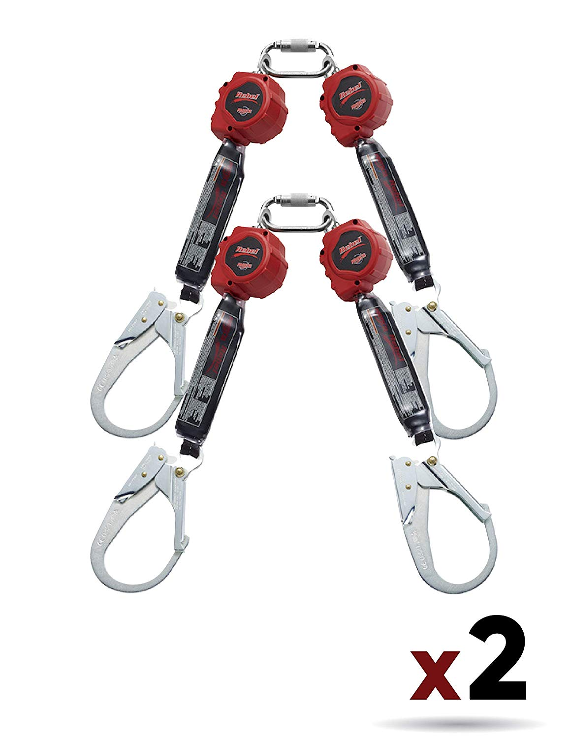 3M Protecta 3100414 Self Retracting Lifeline Rebel 6-Foot (1.8M) Web Twin, Steel Rebar And Carabiner, Black/Red by 3M Fall Protection Business (2 Pack)