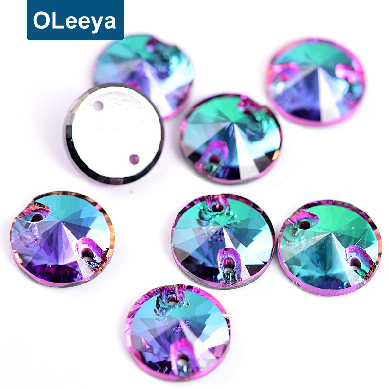 OLeeya Wholesale Best Quality 5A K9 Glass Flatback Strass 12mm Sew Rhinestones On Clothing and Dresses In Bulk