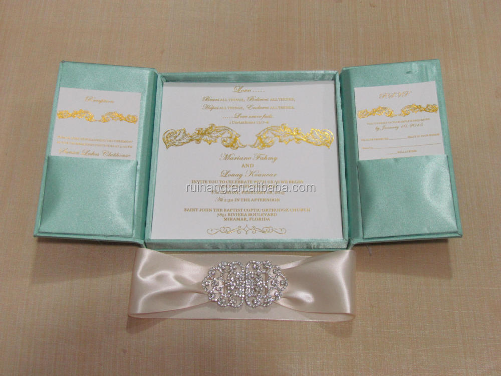 Popular Elegant Royal Gatefold Silk Wedding Invitation Box