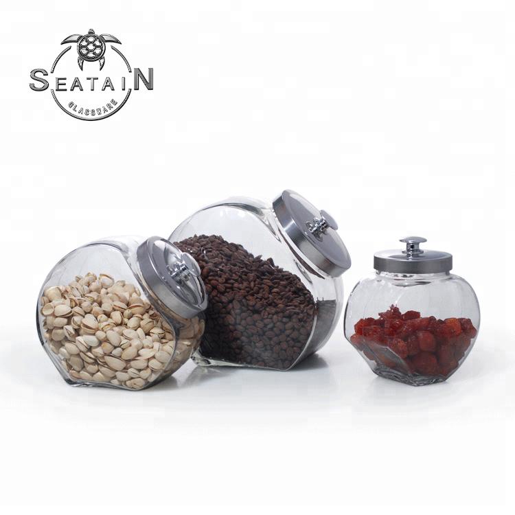 Clásica redondas grandes de almacenamiento de alimentos de vidrio frasco con tapa de metal de azúcar café té