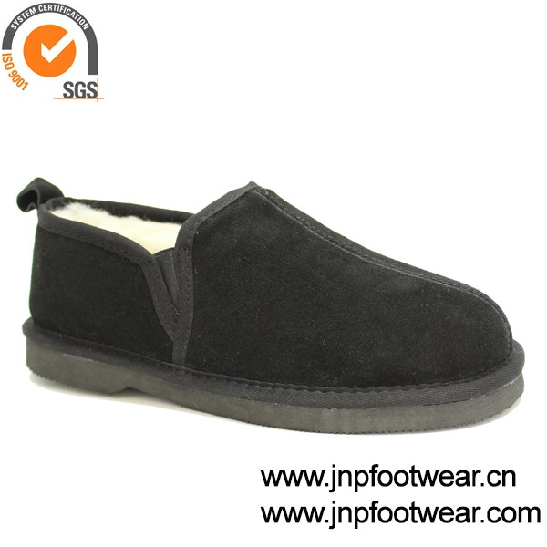 Leather Upp Fur Lined House Mens Slippers With Full Heel