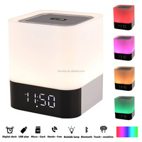 Wireless Portable Bluetooth 4.0 Speaker HIFI Stereo with Led Light Lamp and Alarm Clock, LED Touch Sensor Light
