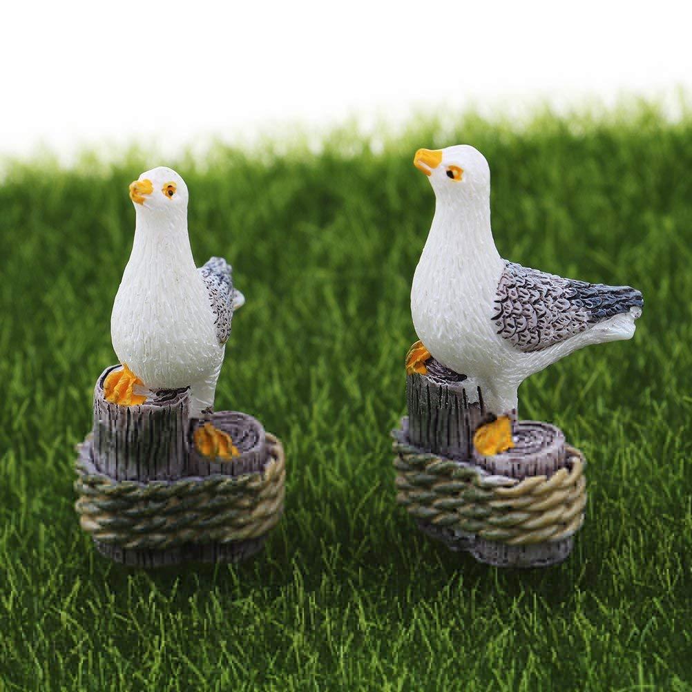 Yiphates 2Pcs Miniature Seagulls, Resin Seagulls Mini Plant Pots Bonsai Craft Micro Landscape DIY Decor