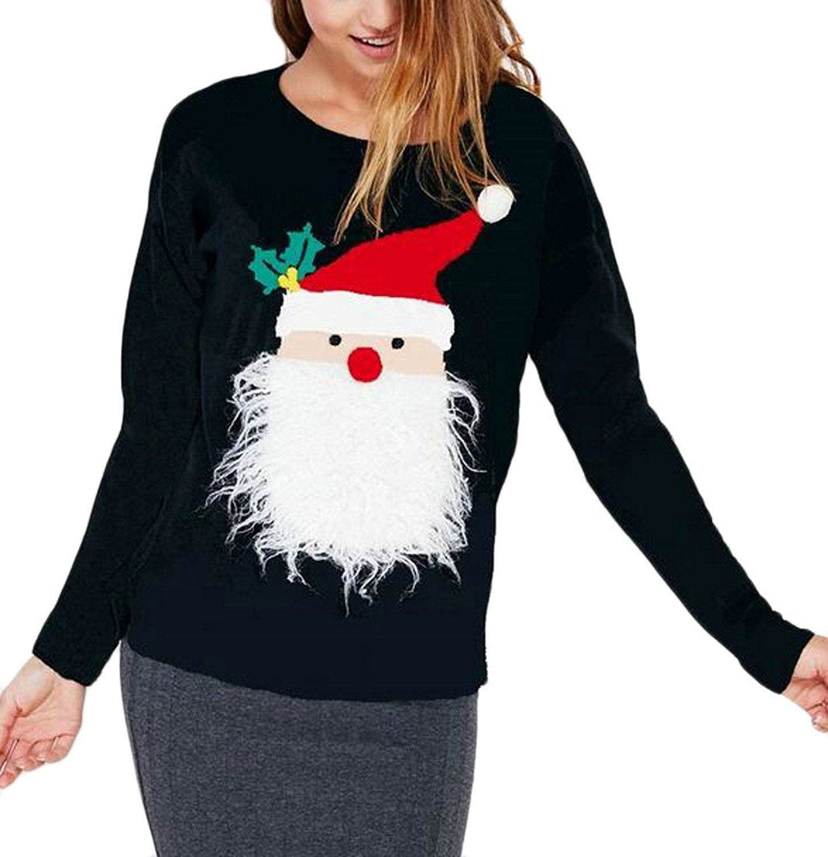 Alion Womens Classic Round Neck Long Sleeve Santa Claus Print Sweatshirt