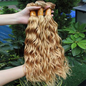 Nähen In Echthaar Extensions Braun Mit Blonden Highlights Wasser Welle Haarverlängerung Buy Blonde Haarverlängerungbraun Haar Mit Blonden