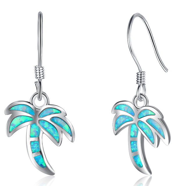 S925 sterling silver coco tree shape opal stone inlay blue earring