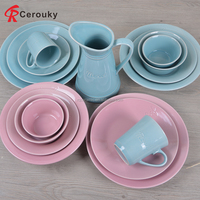 Cheap blue ceramic dinner set big serving dinnerware wedding banquet dinnerware factory