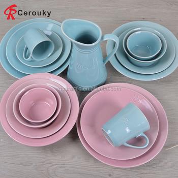 Cheap Blue Ceramic Dinner Set Big Serving Dinnerware Wedding Banquet Factory