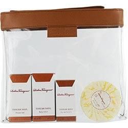 TUSCAN SOUL by Salvatore Ferragamo Gift Set for Men and Women: EDT .17 OZ MINI & BODY LOTION 1.4 OZ MINI & BATH AND SHOWER GEL 1.4 OZ MINI & SOAP 2.5 OZ & CLEAR BAG