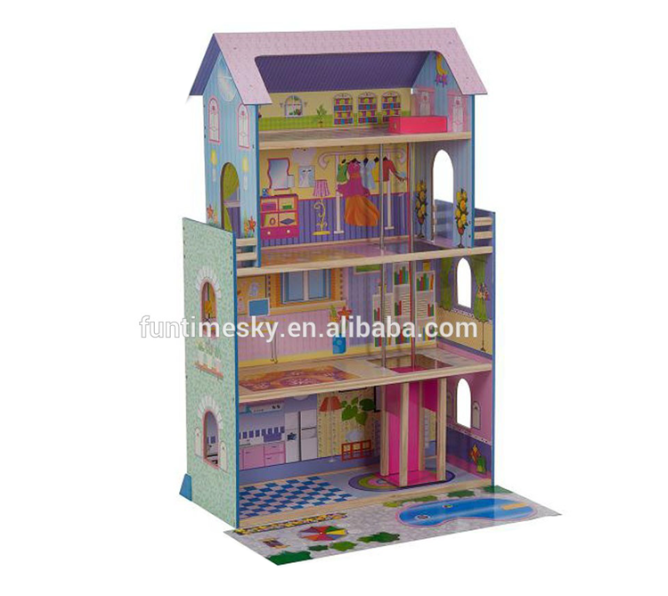 Factory supply house wooden miniatures children dolls AT11895
