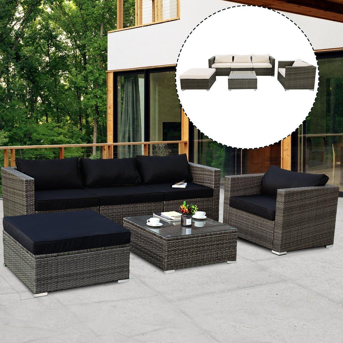 Get Quotations · TANGKULA 6PCs Patio Rattan Furniture Set Modern Outdoor  Garden Lawn Wicker Rattan Sofa Set PE Gray