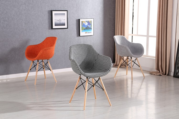 Upholstery modern colors fabric arm dining chair leisure