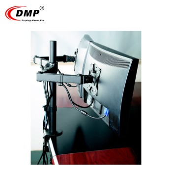 "Heavy Duty Articulating 13"" - 27"" Size Aluminum Portable Laptop Double Desk Monitor Mount with Clamp Installation"