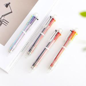 Wholesales pen multicolor 6 color pen plastic ballpoint pen