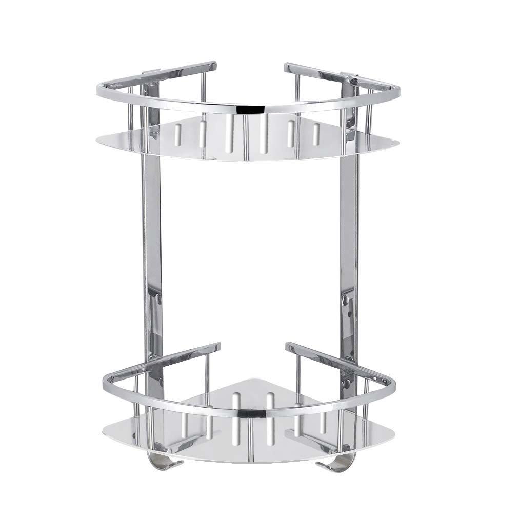 Foccoe Bathroom Shower Shelf Stainless Steel Shower Storage Organizer shelf, Wall Mounted 2-Tier Corner Storage Basket for Bathroom or Kitchen