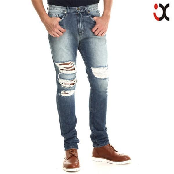 f14c570c94c97 2015 Lavado Ligero Lágrimas Frente Chorro Diseño Levantado Bolsillo Trasero  Denim Ripped Jeans Para Hombres Jxz109 - Buy Pantalones Vaqueros Rasgados  Para ...