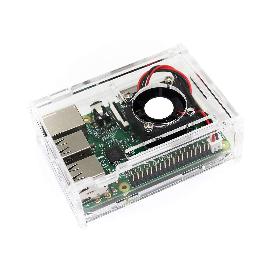 SK Studio Acrylic Motherboard Mount Case for Raspberry Pi 3 Model B+ and Rpi 3B/2B with Cooling Fan Clear