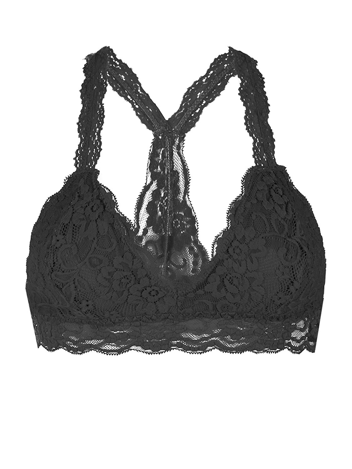 6f41653cd2cc Get Quotations · YOUMITA Racerback Triangle Floral lace overlayed Bralette