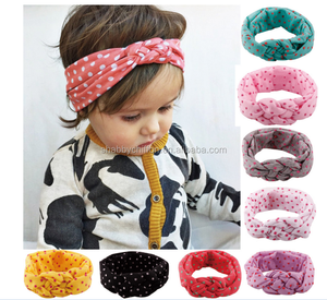 Children's hair European female baby knitting cross hair band cotton elastic headband hand knot of peace